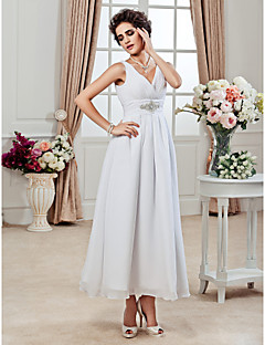 A-line/Princess Plus Sizes Wedding Dress - White Ankle-length V-neck Chiffon