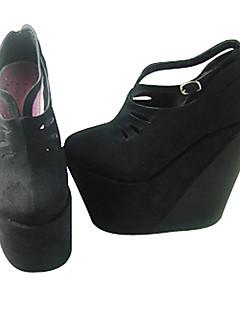 Lolita Shoes Gothic Lolita Handmade Platform Shoes Solid 16 CM Black For Women PU Leather/Polyurethane Leather