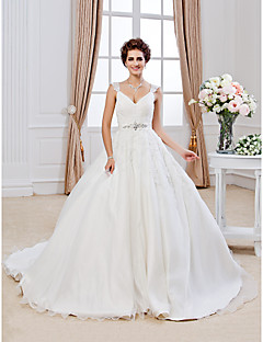 Lan Ting Ball Gown Plus Sizes Wedding Dress - Ivory Chapel Train V-neck Organza