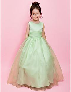 Lanting Bride A-line / Ball Gown Floor-length Flower Girl Dress - Organza / Satin Sleeveless Jewel with Beading / Sash / Ribbon