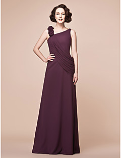 Lanting A-line Plus Sizes / Petite Mother of the Bride Dress - Grape Floor-length Sleeveless Chiffon