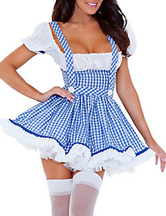 Adulto Maid Cosplay Donne Sexy Slim Fancy Blue Dress Costume di Halloween (2 Pezzi)