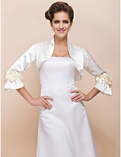 꽃 웨딩 저녁 재킷 / 특별 행사 랩 (더 색) 볼레로 어깨를 으쓱 긴 소매 새틴