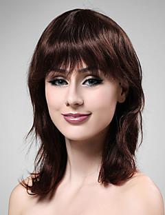 sin tapa de mediano a largo cabello 100% humano profundo vino peluca de pelo