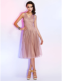 Homecoming Cocktail Party/Holiday Dress - Champagne A-line/Princess V-neck Knee-length Tulle