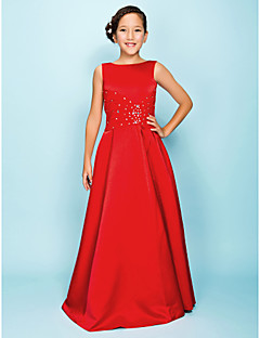 Lanting Bride Floor-length Satin Junior Bridesmaid Dress A-line / Princess Bateau Natural with Beading / Draping / Criss Cross