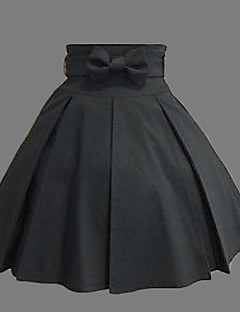 Skirt Classic/Traditional Lolita Lolita Cosplay Lolita Dress Black Solid Lolita Medium Length Skirt For Women Cotton