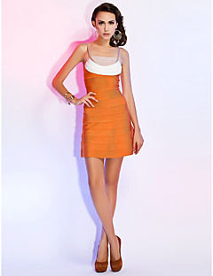 Cocktail Party Homecoming Holiday Dress - Sexy Sheath / Column Spaghetti Straps Short / Mini Rayon with Bandage