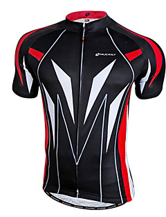 NUCKILY® Cycling Jersey Men's Short Sleeve Bike Breathable / Quick Dry / Front Zipper / Wearable Jersey / Tops 100% Polyester Patchwork