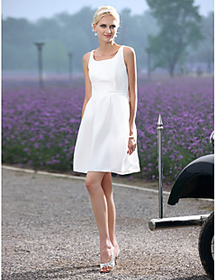 LAN TING BRIDE A-line Princess Wedding Dress - Chic & Modern Reception Little White Dress Short / Mini Scoop Taffeta withDraped Sash /