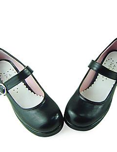 Black PU leder 4.5cm High Heel School Lolita Shoes
