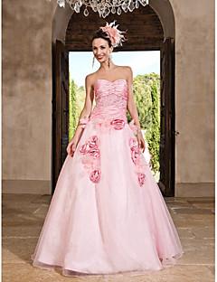 Vestido - Rosa Baile de Formatura/Festa Formal/festa 15 anos/Vestidos de 15 Anos Princesa/Linha-A/Baile Curação/Sem Alça Longo