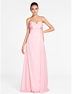 Lanting Bride Floor-length Chiffon Bridesmaid Dress A-line / Princess Strapless / Sweetheart Plus Size / Petite withDraping / Criss Cross
