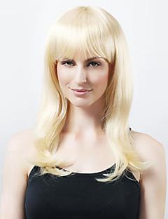 sin tapón sintético de alta calidad a largo luz peluca rubia de pelo rizado