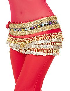 Belly Dance Hip Scarves Women's Performance / Training Polyester Coins / Sequins 1 Piece Natural Hip Scarf