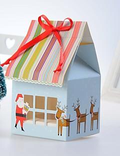Navidad Partido Vajilla-12Piezas / Juego Cajas de la torta Cintas Papel de tarjeta Tema Clásico / Tema Fantástico De Forma CúbicaSin