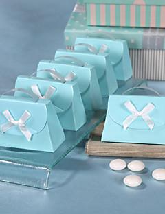 blauwe tas vormige gunste doos - set van 12
