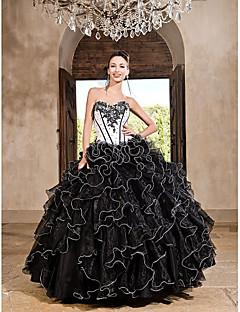 주름과 볼 가운 애인 바닥 길이 태 피터 organza 드레스