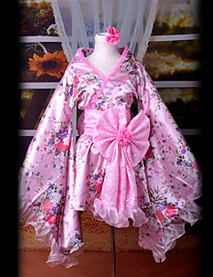 Inspired by Vocaloid Kasane Teto Video Game Cosplay Costumes Cosplay Suits / Kimono Patchwork Pink Long SleeveKimono Coat / Headpiece /
