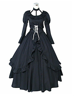 Inspired by D.Gray-man Lenalee Lee Anime Cosplay Costumes Cosplay Suits / Dresses Solid Black Long Sleeve Dress