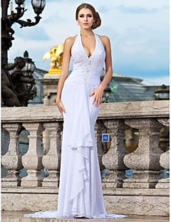 Formal Evening/Prom/Military Ball Dress - White Plus Sizes Trumpet/Mermaid Halter/V-neck Sweep/Brush Train Chiffon