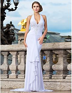 Vestito - Bianco Sera/Graduazione/Ballo Militare Sirena Anello/V Sweep / treno pennello Chiffon Taglie grandi