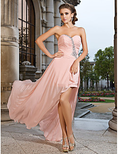 Prom/Formal Evening Dress - Pearl Pink Plus Sizes Sheath/Column Sweetheart/Strapless Asymmetrical/Short/Mini Chiffon