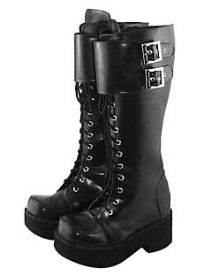Lolita Shoes Punk Lolita Handmade Platform Shoes Solid 6.5 CM Black For Women PU Leather/Polyurethane Leather