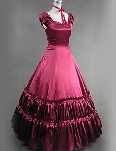 /שמלותחתיכה אחת לוליטה גותי ויקטוריאני Cosplay שמלות לוליטה אדום אחיד שרוול קצר ארוך שמלה / שמלה תחתית ל נשים סאטן