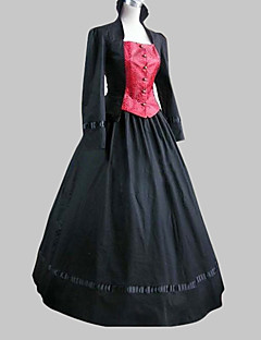 One-Piece/Dress Classic/Traditional Lolita Long Sleeve Cosplay Lolita Dress Black / Pink Patchwork Long Length Coat / Dress For Women Cotton