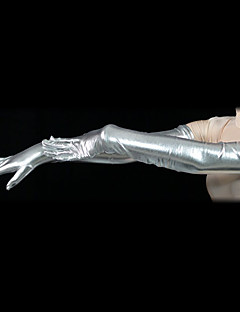 Silver Shiny Metallic Shoulder Length Gloves(2 Pieces)