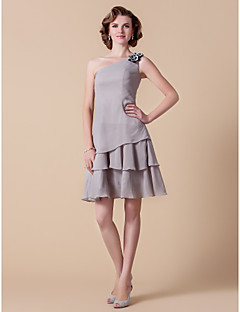 Lanting A-line Plus Sizes / Petite Mother of the Bride Dress - Silver Knee-length Sleeveless Chiffon