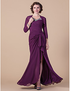 Sheath/Column Plus Sizes Mother of the Bride Dress - Grape Floor-length Long Sleeve Chiffon