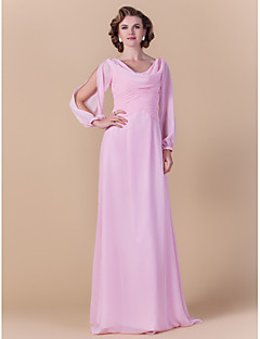 Sheath/Column Plus Sizes / Petite Mother of the Bride Dress - Blushing Pink Floor-length Long Sleeve Chiffon