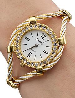 Damen Modeuhr Armband-Uhr Quartz Legierung Band Glanz Armreif Gold Gold