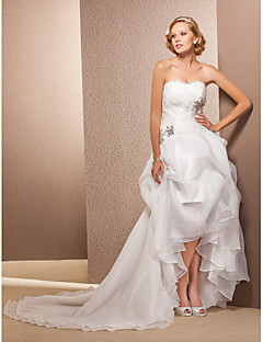 Lanting Bride A-line / Princess Petite / Plus Sizes Wedding Dress-Asymmetrical Sweetheart Organza