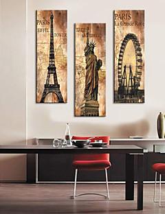 Kunstdruk op gespannen doek vintage architectuur eiffel toren, standbeeld van vrijheid en la grande roue set van 3 1301-0215