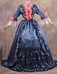 Long Sleeve pavimento-lunghezza inchiostro blu e rosa Gothic Lolita abito di raso