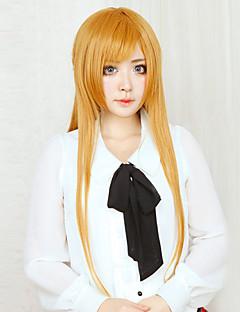 פאות קוספליי Sword Art Online Asuna Yuuki מוזהב אורך נוסף אנימה פאות קוספליי 80 CM סיבים עמידים לחום נקבה