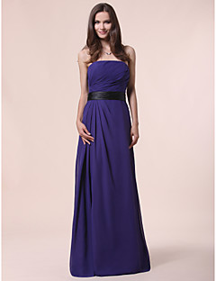 Bridesmaid Dress Floor Length Chiffon A Line Strapless Dress