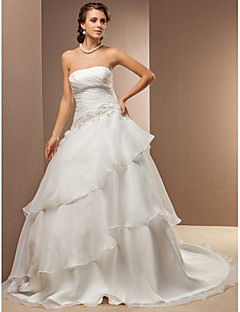A-line/Princess Plus Sizes Wedding Dress - Ivory Chapel Train Strapless Satin/Organza