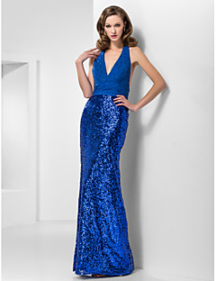 TS Couture® Prom / Formal Evening / Military Ball Dress Plus Size / Petite Trumpet / Mermaid Halter / V-neck Floor-length Chiffon / Sequined