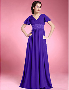 Lanting A-line Plus Sizes / Petite Mother of the Bride Dress - Regency Floor-length Short Sleeve Chiffon