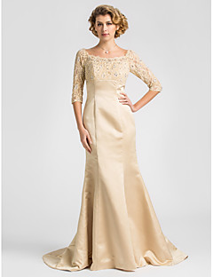 Lanting Trumpet/Mermaid Plus Sizes / Petite Mother of the Bride Dress - Champagne Sweep/Brush Train Half Sleeve Satin / Lace
