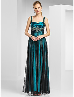 Military Ball/Formal Evening Dress A-line/Princess Straps/Sweetheart Floor-length Tulle/Stretch Satin