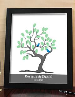 personalisierte Fingerabdruck Malerei Leinwand Drucke - Baum und Vögel (inkl. 6 Druckfarben und Rahmen)