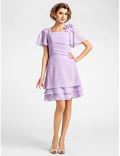 Lanting A-line Plus Sizes / Petite Mother of the Bride Dress - Lilac Knee-length Short Sleeve Chiffon