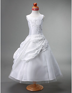 Ball Gown Tea-length Flower Girl Dress - Tulle/Taffeta Sleeveless