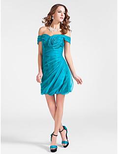 Cocktail Party Dress - Jade Plus Sizes Sheath/Column Off-the-shoulder Short/Mini Organza/Stretch Satin