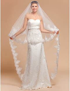 Wedding Veil One-tier Cathedral Veils Lace Applique Edge 118.11 in (300cm) Tulle IvoryA-line, Ball Gown, Princess, Sheath/ Column,